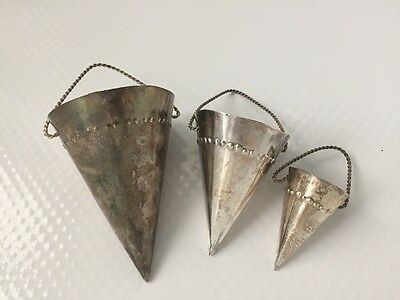 Set 3  Department 56 Silver Plated Cones Christmas  Ornament  Basket Handle