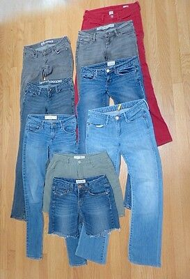 jeans XS & S lot 8 blue black red cotton long 2 pair shorts vintage skinny boot