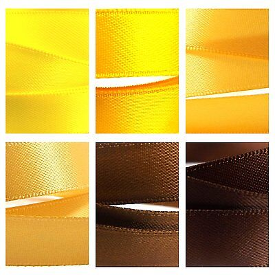 Quality Double Satin Ribbon By The Metre 1-3m, Yellow, Brown, Gold Colours