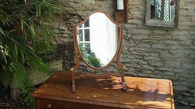 Edwardian  Walnu tShield shaped toilet mirror