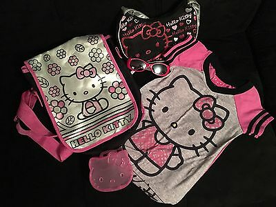 Girl's Hello Kitty Lot Nightgown Sleep shirt Size 4 Purse Sunglasses Bag Box