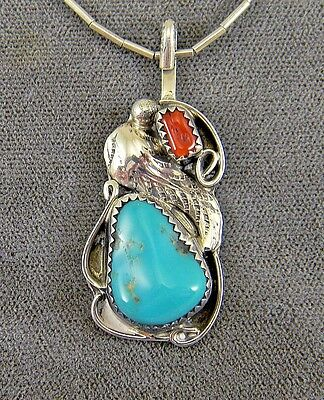 Navajo Sterling Silver Pendant Necklace, Turquoise & Coral Stones, Signed TT