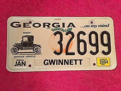 Rare HOBBY ANTIQUE VEHICLE Georgia JAN 2004 License Plate Tag Licence 32699