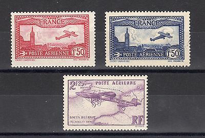 FRANCE: SERIE COMPLETE DE 3 TIMBRES POSTE AERIENNE NEUF* YTN°5/7 Cote: 77,00€