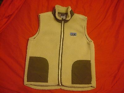 Kids Girls Boys Patagonia Cream Green Full Zip Fleece Vest Large (12)