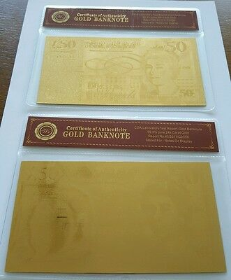 2x Gold 50 Pound note  Bullion Bars with COA