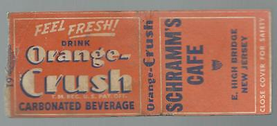 "1940s Vintage ""ORANGE CRUSH"" Soda *AD MATCHBOOK* New Jersey CAFE Great Condition"