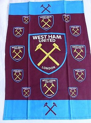 West Ham United Multiple Crest Claret Blue Tea Towel Brand New