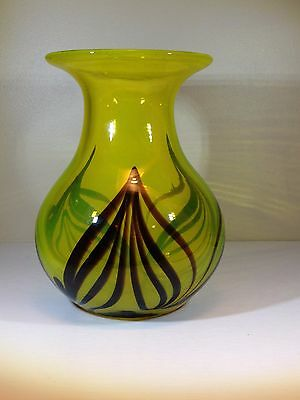Art Deco Glass Vase Neon Yellow Green Fluorescent with Flame Stripes