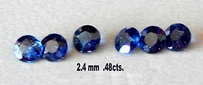Natural Blue Sapphires 2.4 mm./ Faceted Rounds/ Untreated /Small Lot  6 stones