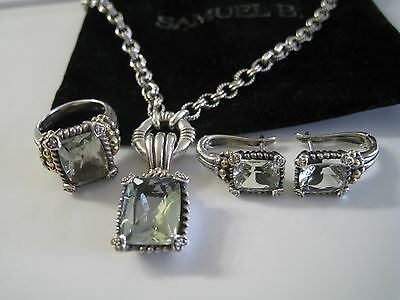 Samuel Behnam Bjc Prasiolite Diamond 925 18K Ring Necklace Earrings Pendant Set