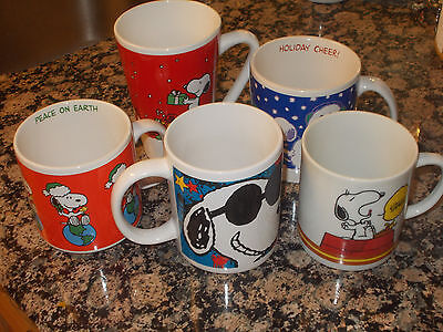 Lot 5 Snoopy Cups Mugs Christmas Be Cool Coffee Break