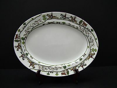 Crown Staffordshire England Hunting Scene Oval Serving Platter