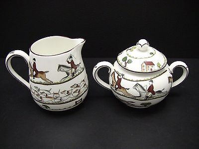 Crown Staffordshire England Hunting Scene Creamer & Sugar Bowl with Lid