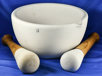 Antique HUGE Coors Porcelain MORTAR and 2 PESTLES Pharmacy Apothecary