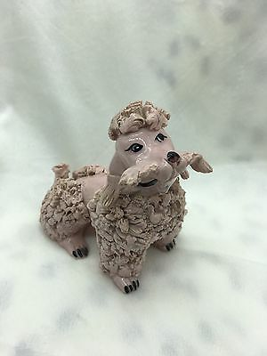 """Vintage Porcelain Pink Spaghetti Poodle Made In Italy 4.5"""""""