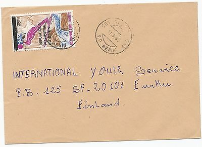 Benin 1985 overprinted winter sport stamp on  cover to Finland