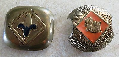 2 Vintage Boy Cub Scout Neckerchief Slide Holder Tiger & Cub Fleur De Lis