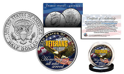 VETERANS United States Military Official Genuine JFK Kennedy Half Dollar US Coin