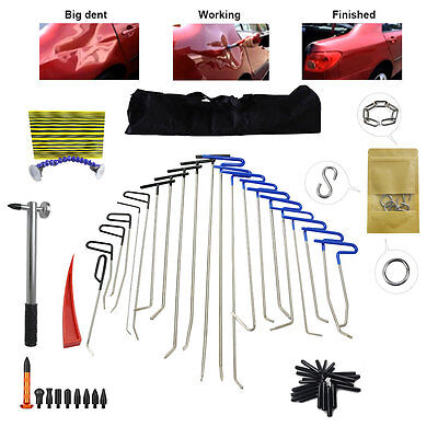33PCS Big PDR Paintless Rods Hail Dent Ding Repair Tool+Removal Hammer Kits