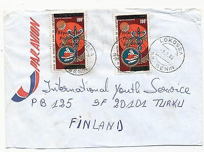 Benin 1986 overprinted medical 2 stamp on cover to Finland