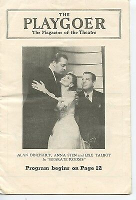 "1941 The Playgoer, ""Separate Rooms"", Anna Sten, Lyle Talbot, Philadelphia, PA"