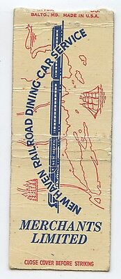 1940s Matchbook Cover - Merchants Limited, New Haven Railroad Dining Car Service