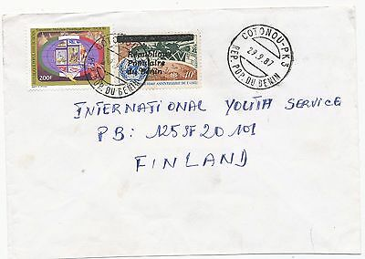 Benin 1987 overprinted UN stamp on cover to Finland
