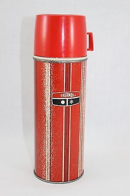 1969 King Seeley Thermos #2210 Red Strip,Red Cup. One Pint HOT COLD thermos