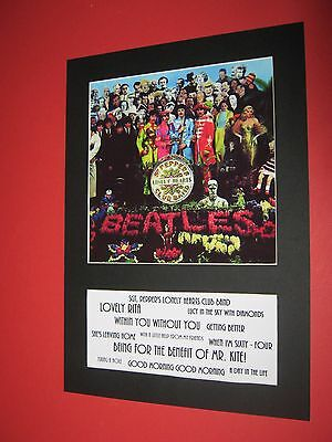 The Beatles Sgt Peppers Lonely Hearts  A4 Mounted Album Print (Win 3 4Th Free)