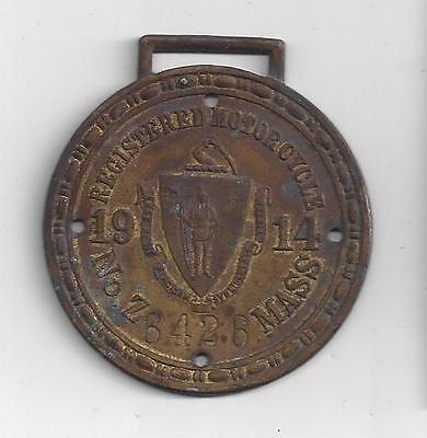 1914 Mass Motorcycle REGISTRATION MOTOCYCLE FOB LICENSE PLATE vehicle ID Z 6426