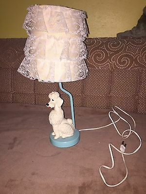 Cute Vintage 1960's Poodle Lamp Plastic Figurine  with Ruffled Lace Shade