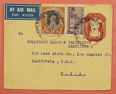1950 India Uprated Stationery Airmail Cover Triplicane Madras Cancel To Usa