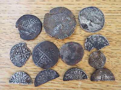 """ELK""  12 Medieval HAMMERED Silver COINS all ""as dug"" condition from NORFOLK"