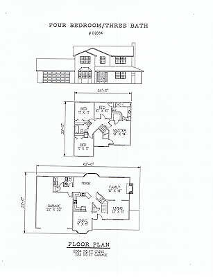 2084 square foot four bedroom house plan
