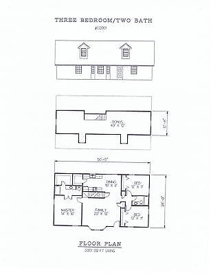 2001 square foot three bedroom house plan