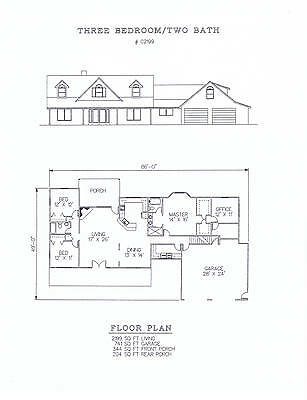 2199 square foot three bedroom house plan