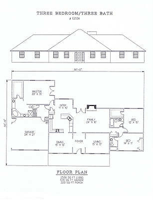 2536 square foot three bedroom house plan