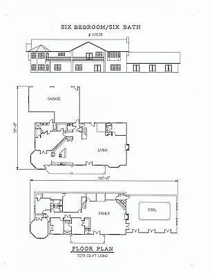 7078 square foot Six bedroom house plan