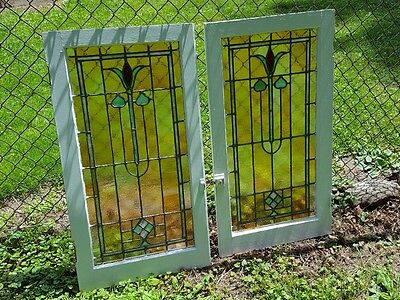 Set Of 2 Leaded Stained Glass Windows With Zero Issues From Passaic Nj