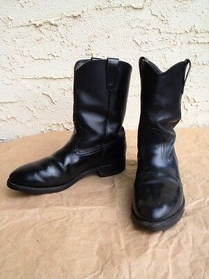 EUC Mens Black Leather Western Boots Size 8 - 9