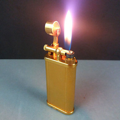 Dunhill Unique Vertical Lines Gold Plated Lighter #352236 Made in England