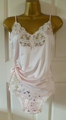 VTG STYLE VALISERE PINK CAMISOLE TOP + TU PINK LACE + FLORAL KNICKERS SiZE 12