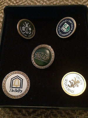 Collection of 5 Famous Golf Club ball markers