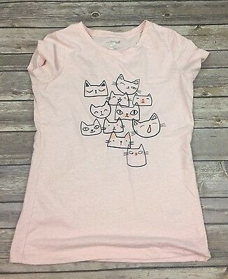 Cat & Jack Girls Large 10/12 Pink Short Sleeve Tee Shirt Kitty Kitten Cat Faces