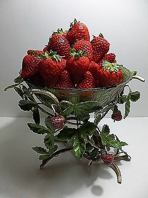 Vintage Italian Metal Toleware STRAWBERRY Bowl Holder PLANT Stand GREEN GLASS