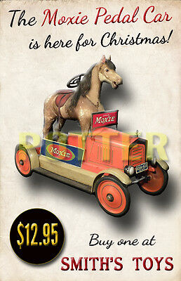 Moxie Soda Pedal Car With Horse Store Display Repo Poster