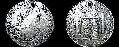 1799-LIMAE IJ Peruvian 8 Reales World Silver Coin - Peru - Holed