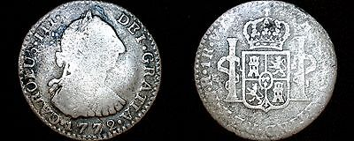 1772-NR VJ Colombian 1 Real World Silver Coin - Colombia