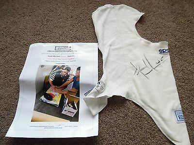 Nigel Mansell Signed Sparco Balaclava New Full Signature With Coa Photo Proof.